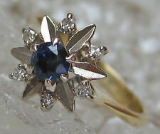 ✪ Brillant Ring in aus 585 Gold mit Safir Saphir Schmuck Safire Diamond Saphirre