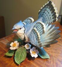 "Lenox Garden birds ""Blue Jay"" Fine Porcelain Figurine Bird & Flowers Collection"