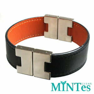 Auth Hermes Reversible Leather Bracelet Black Orange Bangle Black Orange One Poi