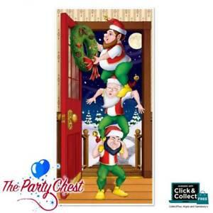 1.5M CHRISTMAS ELVES DOOR COVER Festive Christmas Door Poster Decoration 20009