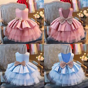 Kids Girls Dress Multi Layer Flower Bow Princess Summer Birthday Party Wedding