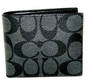Coach F66551 Men's Wallet ID Bill Signature Charcoal & Black  NWT $150