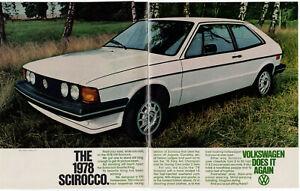 1978 VOLKSWAGEN Scirocco Vintage Original 2 page Print AD White 2-door car photo