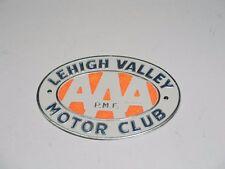 UNUSED VINTAGE LEHIGH VALLEY MOTOR CLUB AAA P.M.F. CAR LICENSE PLATE EMBLEM