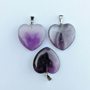 """Crystals Amethyst Heart Pendants & 18"""" Silver Necklace Chain"""