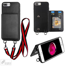 Apple iPhone 7 8 Card Wallet Leather Case Flip Lanyard Necklace Long Strap Cover