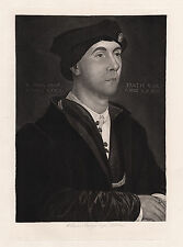 "Handsome 1800s Hans HOLBEIN Etching ""Sir Richard Southwell Portrait"" SIGNED COA"