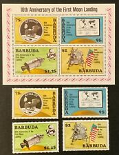 Barbuda. Apollo 11 Moon Landing Stamps & Sheet. SG498/502 1980. MNH. (MSC884)