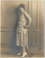 Pretty Young Woman in Flapper Dress & Hair Poses Vintage Fashion 7x9 Photo