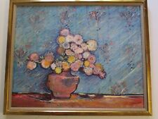 LARGE DON BURGESS FLORAL PAINTING VINTAGE FLOWERS STILL LIFE IMPRESSIONIST RARE