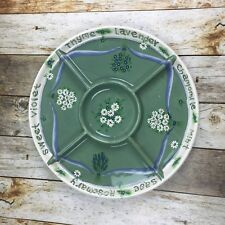 Kathy Hatch Collection 2001Ceramic Relish Large Tray 32145 Herbs Sage Green Tan