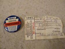 1941 Pennsylvania Resident Citizen's Fishing License with Paper