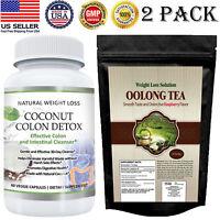 Coconut Colon Detox Caps 100% Herbal Oolong Tea Detox Weight Loss Tea Bags 2 PK