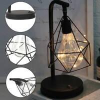 LED Industrial BedSide Table Lamp Desk Lights Retro Lamps Bed Black Geometric UK