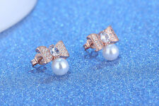 925 Sterling Silver Women Jewelry Pearl Bow Crystal Elegant Ear Stud Earrings