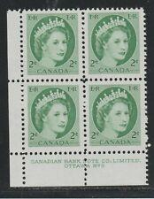 1954 Canada SC# 338 LL Queen Elizabeth II Plate No. 9n Plate Block M-NH Lot# 109