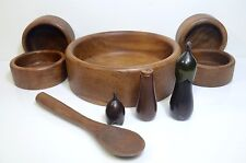 "Genuine Teak Thailand Wooden Salad 12"" Bowl Serving Set W Salt & Pepper Spoon"