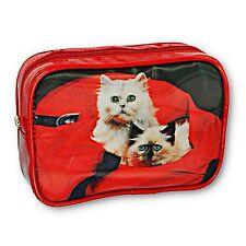 Red Purse Make-Up Bag Cute White Siamese Kitten 3D Lenticular #TP-309-ROMA#