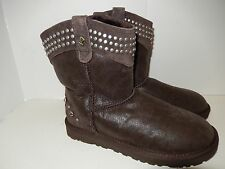 New UGG AUSTRALIA BOWEN STUDDED SWAROVSKI CRYSTAL CHOCOLATE BLING BOOTS US 5
