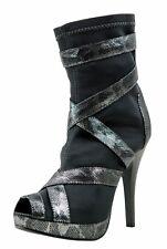 Womens Mid Calf Stilettos High Heels Ankle Booties Stocking Platform Wedges Shoe
