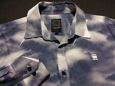 G-Star Raw Mens Large Long Sleeve Button-Front 100% Cotton Blue Geometric Shirt