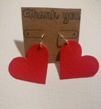 Shaped Earrings Handmade Red Heart
