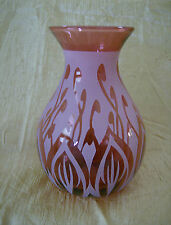 "Kelsey Pilgrim Cranberry Glass Vase 6"" - Signed"