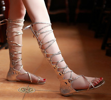 Gold US 8 Womens Gladiator Flip Flop Flat Sandals Straps Lace Up Knee High Boots