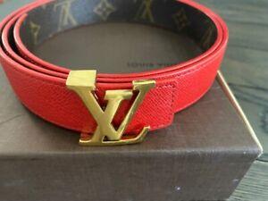 Great Deal! LOUIS VUITTON Belt LV Monogram Reversible Red M9498 90/36 Authentic!