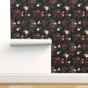 Peel-and-Stick Removable Wallpaper Floral Black Burgundy Pink Green Nursery