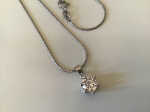 """STERLING SILVER SOLITAIRE CZ PENDANT NECKLACE 18"""" FANCY LINK CHAIN 925 ITALY"""