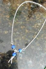 Sterling Silver 925 Necklace Chain with glass blue beads tassel style Vintage