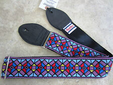 SOULDIER Guitar Strap STAINED GLASS PURPLE BLK Vintage Style Woven Jimi Hendrix