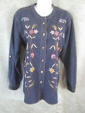 Coldwater Creek Shirt Size Large Blue Denim Floral Embroidered