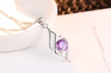 Ladies Pendant Necklace Cubic Zirconia Silver Purple Zircon Colour Silver Chain