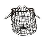 Vintage Egg Wire Basket Farmhouse Display Rusted Metal Dual Handle Handmade