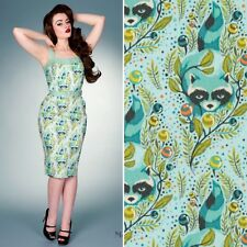 Womens Pinup Dress Fitted Wiggle Pencil Racoons Victory Parade Fever UK10 Small