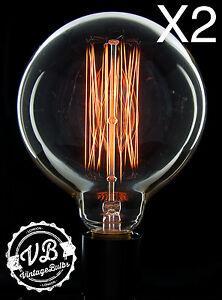 2 Vintage X/L Globe light bulbs Edison style filament retro antique 60w B22 G125