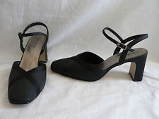 PRE LOVED C EST BON LADIES SIZE 8 BLACK SATIN HIGH HEELS STRAPPY FORMAL EVENING