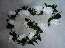 Rosengirlande schneeweiß ca.250 cm  Blüte ca. 12 cm Kunstblumen -Seidenblumen
