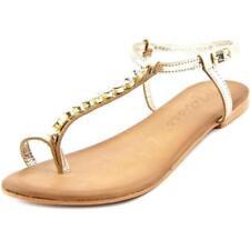 Calzado de mujer sandalias con tiras de color principal oro de piel