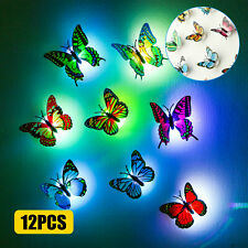 10 PCS 3D Butterfly Wall Stickers LED Lights Living Room Bedroom DIY Home Decals