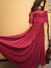 True Vtg 70s Burgundy Victorian Lace Boho Gypsy Maxi Pleated Cocktail Dress M