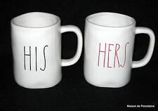 "Rae Dunn MAGENTA INC 2 Tall Mugs ""HIS."" and ""HERS"" 2015"