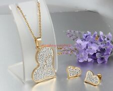 New Stainless Steel Gold Heart exquisite CZ Womens Necklace Pendant Earring Set