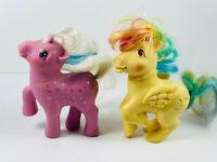 Lot (2) My Little Pony Hasbro 1987 1983 G1 Pegasus brony pink yellow