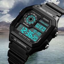 Men's Sport Digital Wrist Watch Square Waterproof LED Luminous Casual Dual Time