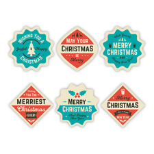 6 Vintage Retro Christmas Decor Stickers | Christmas Gift Card Present Labels