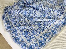 Vintage hand printed Indian cotton tablecloth bedspread throw 230 x 150cm