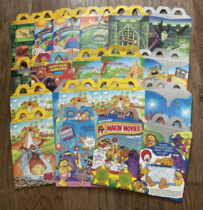 Lot of 16 McDonalds 90s Happy Meal Boxes Fries Boxes Bags Batman Barbie Disney